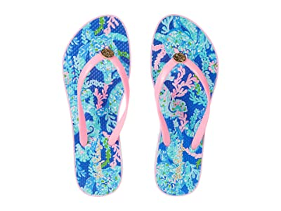 Lilly Pulitzer Pool Flip-Flop (Corsica Blue Turtle Villa Shoe) Women