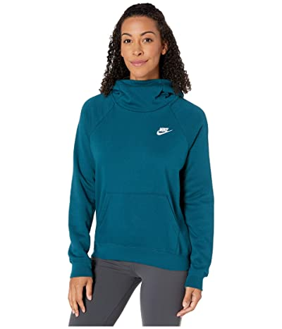 Nike NSW Essential Funnel Pullover Fleece (Midnight Turquoise/White) Women