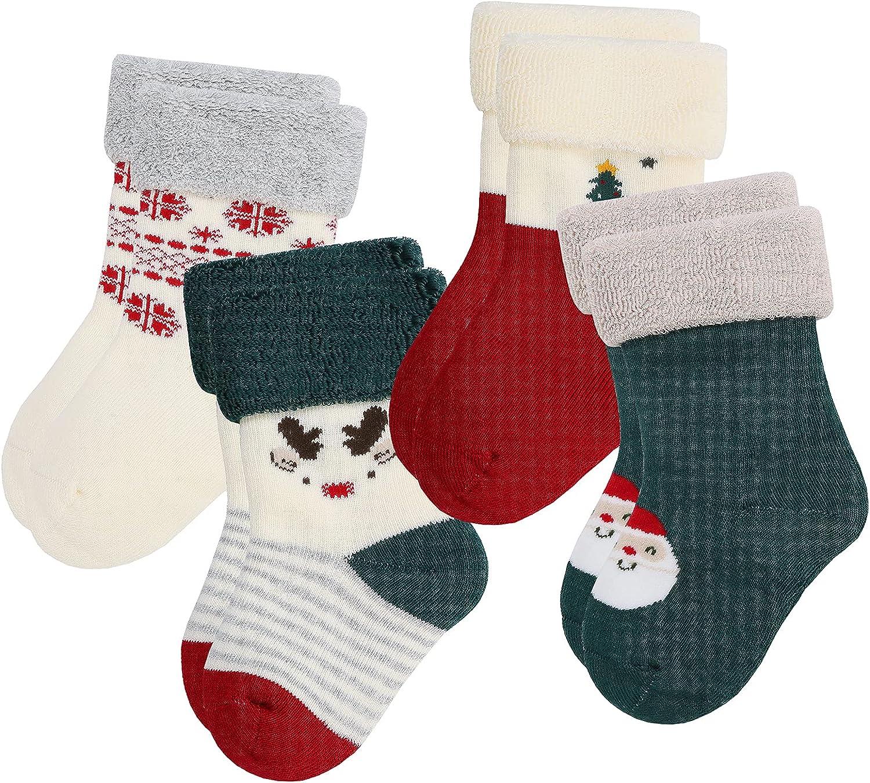 Baby 4 PACK Terry warm winter wool toddler socks cotton 12-24 months for halloween christmas socks,Unisex,Girls,Boys