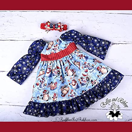 b3a0027bb0eb Size 12-18 Months Handmade Baby Snowman Christmas Dress and Fancy Headband  Set Handmade