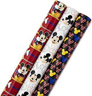 Hallmark Disney Mickey Mouse Wrapping Paper with Cut Lines (Pack of 3, 105 sq. ft. ttl.) for Birthdays, Christmas or Any Special Occasion