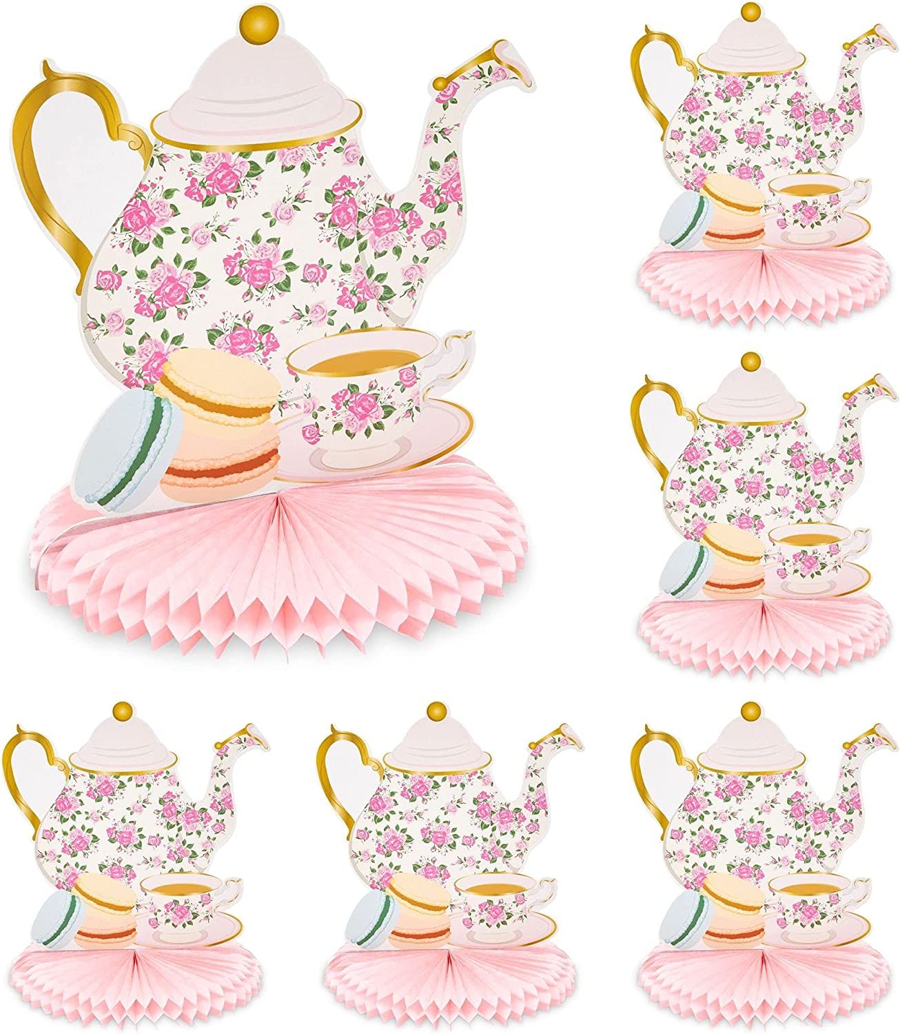 Teapot Honeycomb Centerpieces for Kids Tea Party Birthday (9.8 x 11 in, 6 Pack)