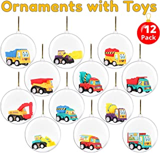 BETTERLINE 12 Clear Fillable Christmas Ball Ornaments Filled with Toy Trucks - Fill with Toys or Surprises for Decor, Xmas Tree, Birthdays, Parties, Events