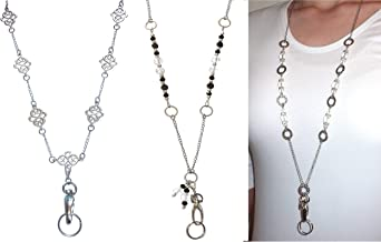 Silver Necklace Lanyard ID Card Necklace Silver Fashion Lanyard Coworker Gift Under 25 Silver ID Badge Holder Beaded Lanyard Silver