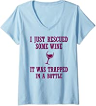 Womens I Just Rescued Some Wine It Was Trapped In A Bottle Drinking V-Neck T-Shirt