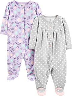 Baby Girls paquete de 2 calcetines de forro polar para dormir y jugar ,Purple/Flowers/Gray Dot ,US NB (EU 56-62)