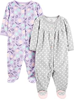 Simple Joys by Carter's Baby Girls' 2-Pack Fleece Footed Sleep and Play