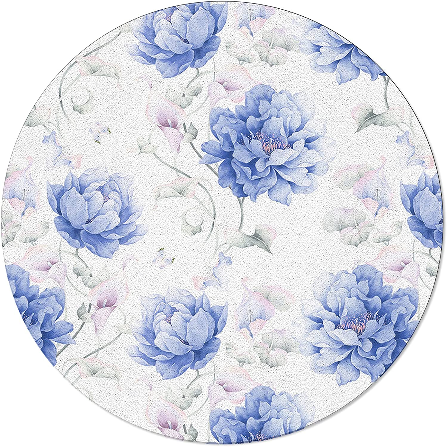ARTSHOWING Al sold out. Flowers Round Max 74% OFF Area Rug Soft Non-Slip Floor Carpe 3ft