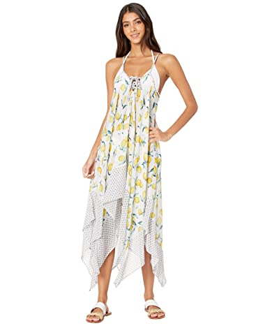 Jessica Simpson Nice Lemons Lace Front Cover-Up (Lemon Multi) Women