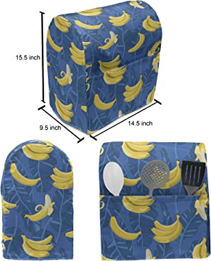 Lunarable Tropical Stand Mixer Cover, Exotic Banana Leaves Brazilian Rainforest Fruits Bicolour Repetition, Kitchen Appliance