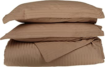 100% Egyptian Cotton 650 Thread Count King/California King 3-Piece Duvet Cover Set, Single Ply, Stripe, Taupe