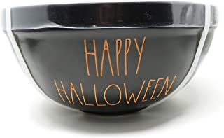 Rae Dunn by Magenta 3 Piece Happy Halloween + Tricks + Treats Black Ceramic LL Nesting Serving Mixing Bowl Set with Orange Interior and Orange Lettering
