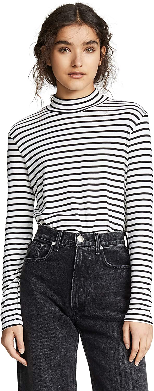 Splendid Women's 爆買い送料無料 1x1 Long Sleeve Mock Tee 舗 Neck T-Shirt