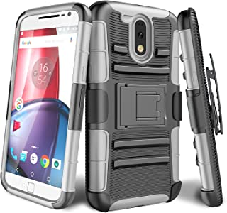 TILL Moto G4 Case, Moto G4 Plus Case, [Knight Armor] Heavy Duty Rugged Holster Resilient Armor Case [Belt Swivel Clip][Kickstand] Combo Cover Shell for Motorola Moto G 4th Gen 2016 [Gray]