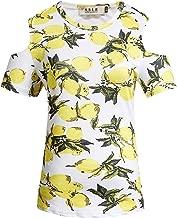 SSLR Women's Crew Neck Cold Shoulder Short Sleeve Hawaiian T-Shirt