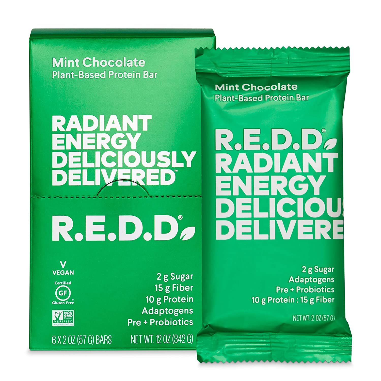 R.E.D.D. Bar, Vegan Protein Bar, Low Sugar & Gluten-Free, Mint Chocolate, 6 Bars