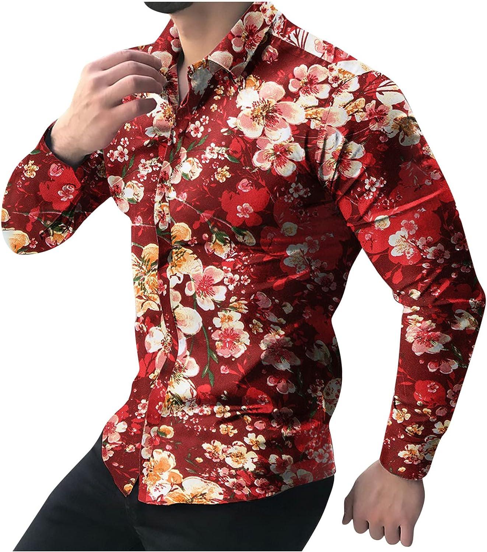 Men Printed Floral Shirt,Casual Button Down Hawaii Lightweight Tops Long Sleeve Slim Beach Regular Hippie Tunic Blouse