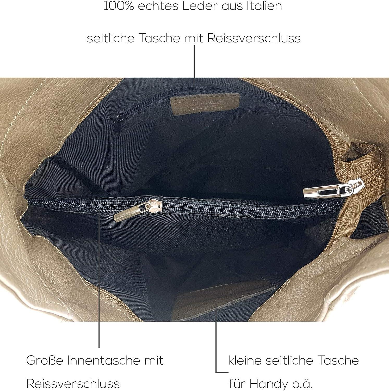 Freyday Sac à bandoulière en cuir véritable fabriqué en Italie Taupe Clair