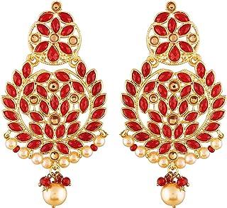 Aheli Atemberaubende Hochzeit Party Wear Red Crystal Pearl Chandbali Ohrringe indischen ethnischen traditionellen Schmuck für Frauen