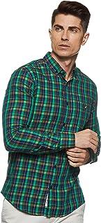Amazon Brand - House & Shields Men's Checkered Regular fit Casual Shirt (SS20-HS-RR-01-A_Green&Navy M)