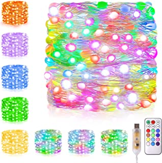66ft 200 LED Indoor Fairy String lights Color Changing Christmas Lights USB Powered RGB Fairy Lights with Remote, Waterpro...