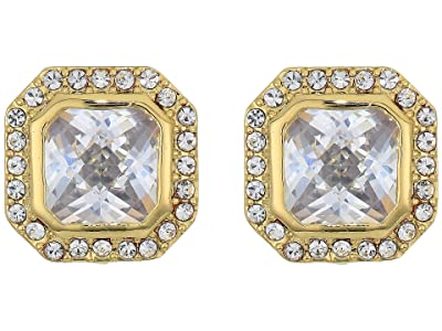 Vince Camuto Cushion Cut Clip Studs Earrings (Gold/Crystal) Earring