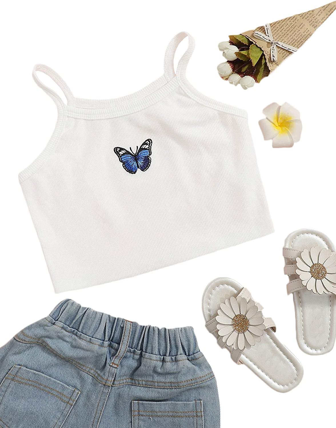 Romwe Girl's All items in the store Summer Clothes Butterfly Pattern Crop service Tank Tops