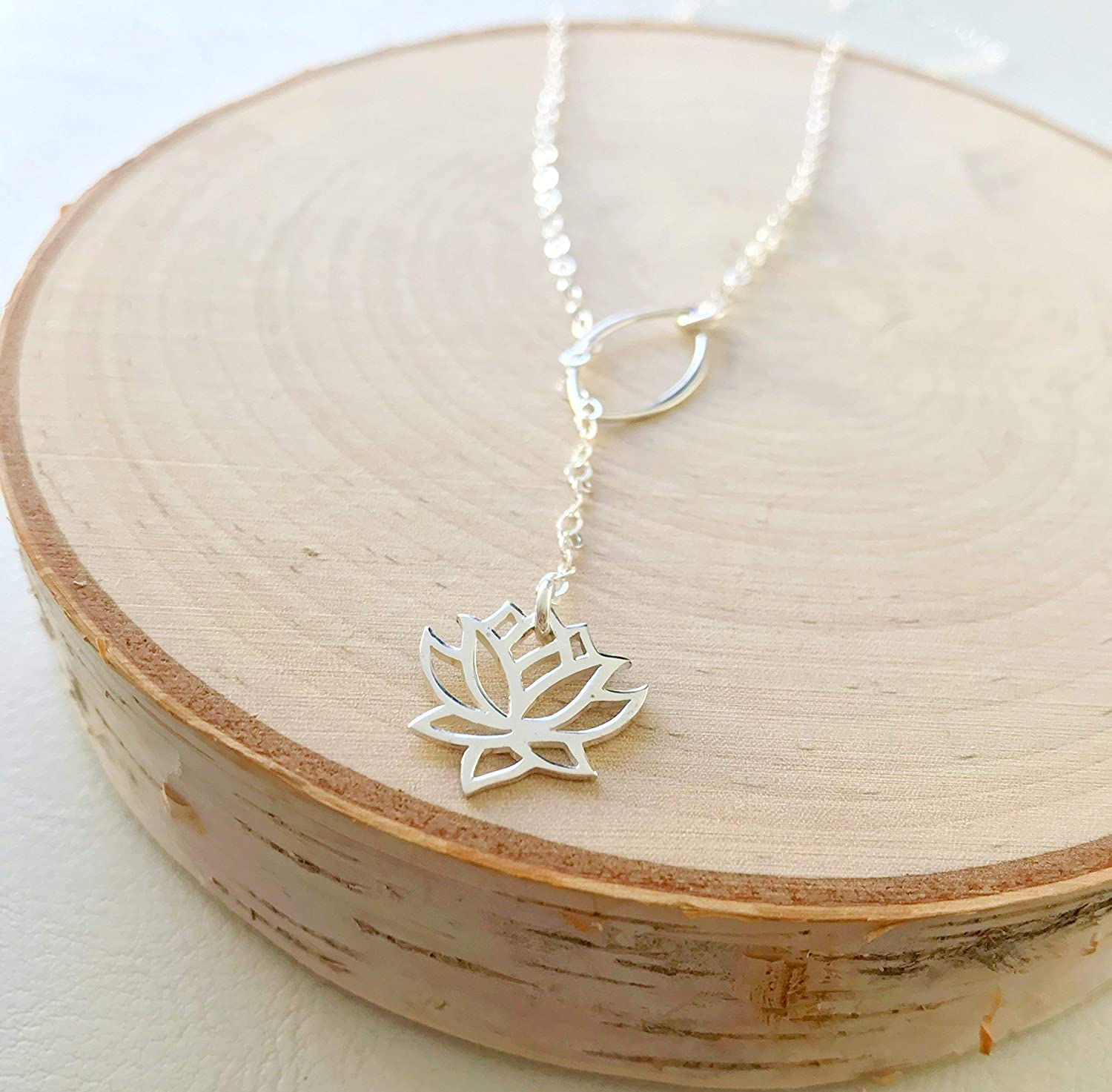 Lotus flower Lariat Necklace Silver Gold Contempor Inspired Inexpensive 5 popular Yoga