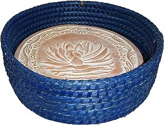 Handwoven Bread Roll Basket Lotus Terracotta Warming Tile Stone 11 Inch Width (Cobalt Blue)