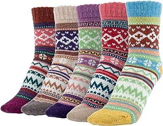 Calcetines de Lana para Mujer, 5 Pares Mujer Calcetines, Calcetines De Algodón Niña Calcetines Divertidos Acogedor Transpirable EU Tamaño 35~42