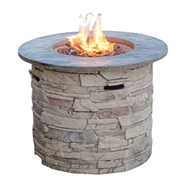Christopher Knight Home 296659 Rogers Propane Fire Pit Round 32  Top-40,000 BTU, Round, Grey