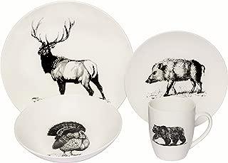 Melange Coupe 32-Piece Porcelain Dinnerware Set (Wild Animals) | Service for 8 | Microwave, Dishwasher & Oven Safe | Dinner Plate, Salad Plate, Soup Bowl & Mug (8 Each)
