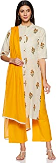 Appirant Women's Cotton Straight Kurta, Palazzo and Dupatta Set (Yellow)