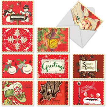 Amazon Com Boxed Set Of 10 A Crimson Christmas Blank Holiday Greeting Cards Vintage Inspired Red Christmas Cards 4 X 5 12 Inch Old Fashioned Xmas Notes Antique Holiday Notecards M1757xb Office Products