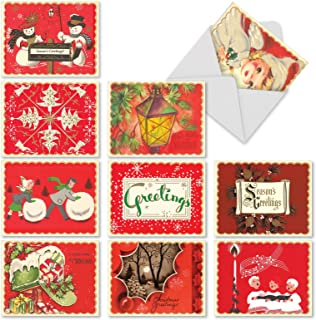 A Crimson Christmas - 10 Retro Assorted Season's Greetings Cards with Envelopes (4 x 5. 12 Inch) - Classic Red Xmas Cards, Boxed Christmas Assortment M1757XS