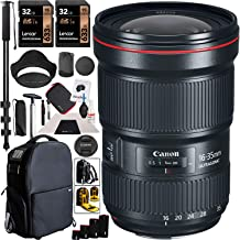 Canon EF 16-35mm f/2.8L III USM Lens Ultra Wide Angle Zoom for EF Mount DSLR Cameras Bundle with Deco Gear 3-in-1 Photography Case, Backpack, Carry On Bag + Monopod + Lens Sleeve Kit and Accessories
