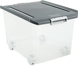 Tatay 1150322 Caja de Almacenamiento Multiusos Ruedas 60 l de Capacidad plástico Polipropileno Libre de bpa Transparente con Tapa, Gris, 40 x 56,5 x 36,2 cm