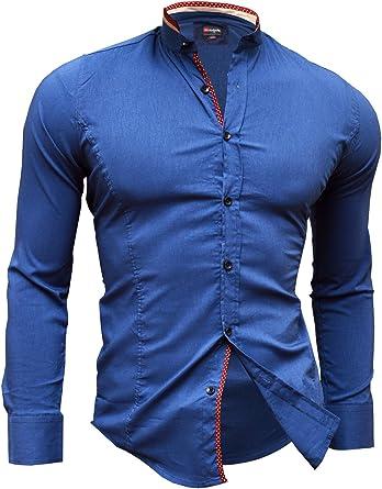 Camisa Casual Formal Cuello Alto Slim Fit Cierre decorativo Muchos colores