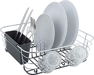 SunnyPoint Chrome Plated Steel Small Dish Drying Drainer Basket Rack With Utensil Holder