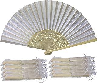 Rangebow - Paquete al por mayor de 10 , 15 , 50 , 100 blanca tela de seda de ventiladores de la mano para el partido, la boda del regalo del favor ( 10 paquetes )