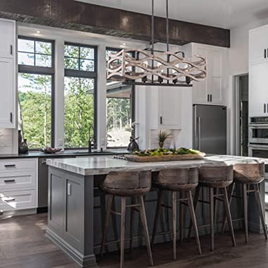 Kitchen Island Lighting, 5-Light Rustic Farmhouse Linear Chandelier, Pendant Light Fixture for Kitchen, Dining Room, Weathere