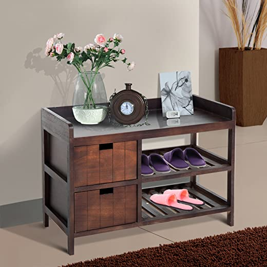 B07CBTBS46✅Festnight Wooden Shoe Rack Entryway Storage Bench Organizer with Drawer Brown