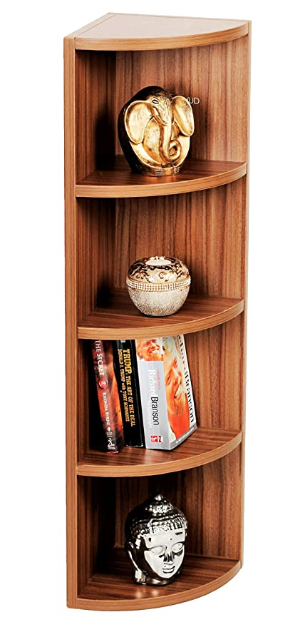 BLUEWUD Engineered Wood Multi Tier Corner Wall Decor Shelf/Display Rack 5 Shelves  Walnut Finish