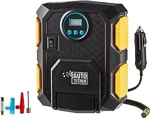 Auto Tecnik Portable Air Compressor Tyre Inflator Pump 12V Pressure Gauge Automatic Shut Off with LCD Screen  amp  Attachments  120W Upright Air Compressor