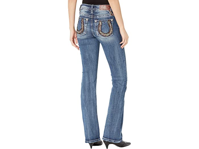 Miss Me Chloe Bootcut Jeans with Horseshoe Embellishment in Dark Blue