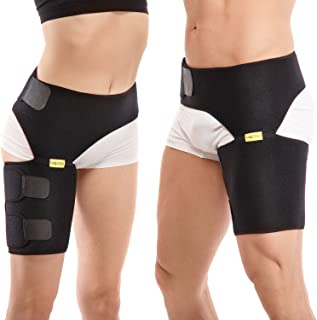 Compression Brace for Hip, Sciatica Nerve Pain Relief Thigh Hamstring, Flexor, Arthritis, Groin Wrap for Pulled Muscles, Hip Strap, Sciatica Brace for Men, Women