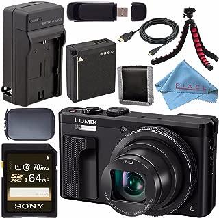 Panasonic Lumix DMC-ZS60 Digital Camera (Black) DMC-ZS60-K + DMW-BLG10 Lithium Ion Battery + External Rapid Charger + Sony 64GB SDXC Card + Small Case + Flexible Tripod Bundle