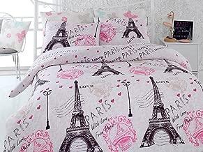 Eponj Home Fromparis Pink Double Quilt Cover Set Size 200 x 200 cm Quilt Cover Set -2 Pieces Pillow Case 50 x 80 cm