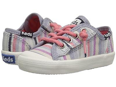 Keds Kids Kickstart Seasonal Toe Cap (Toddler/Little Kid) (Relaxed Multi Stripe Textile) Girls Shoes