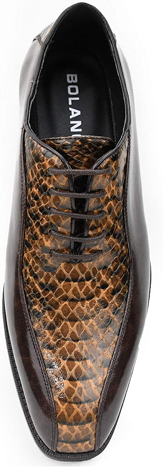 Bolano The Original Mens Exotic Smooth Faux Snake Print Comfortable Lace Up Oxford Dress Shoe Style Franz
